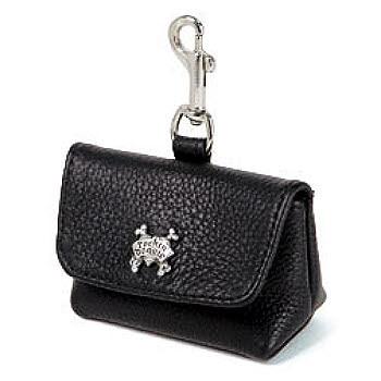 Black Leather Leash Accessory Poop Bag Holder
