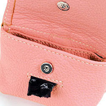 Pink Leather Leash Accessory Poop Bag Holder