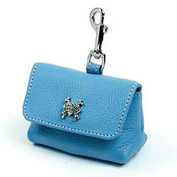 Blue Leather Leash Accessory Poop Bag Holder