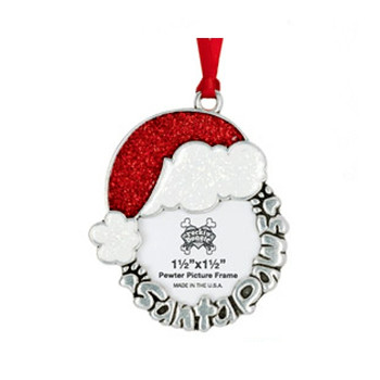 Pewter Ornament - Santa Paws/Picture