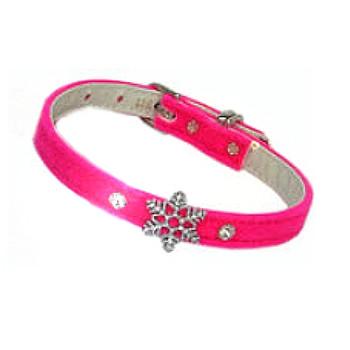 Snowflake Charm Velvet Dog Collar