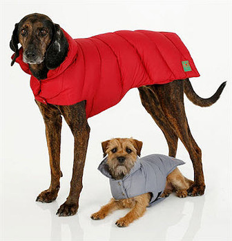 Cranberry Red Down Puffer Coat by Canine Styles