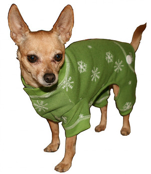 Green Snowflake Long Johns Dog Pajamas