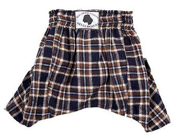 Dog Belly Boxer Shorts - Navy/Brown Flannel
