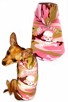Monster Pink Camo Dog Hoodie by Hip Doggie - Size Large
