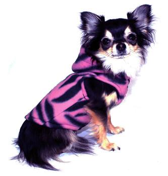 Pink Tigress Polar Fleece Dog Hoodie by Hip Doggie - Size XS