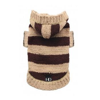 Super Soft Striped Dog Sweater - Tan/Brown - Size Medium