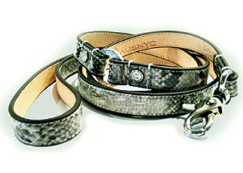 Faux Snakeskin & Sherpa Dog Harness and Leash