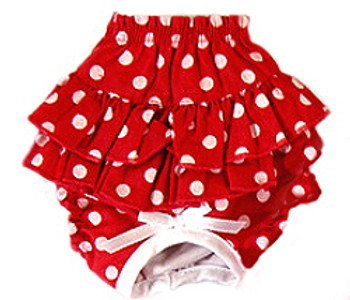 Ruffled Dog Panty - Red & White Polka Dot
