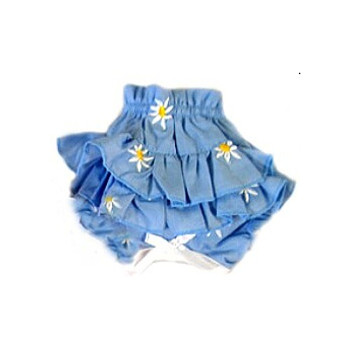 Ruffled Dog Panty - Blue Denim & Daisies