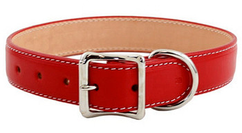 Dover Court Leather Dog Collar - Red