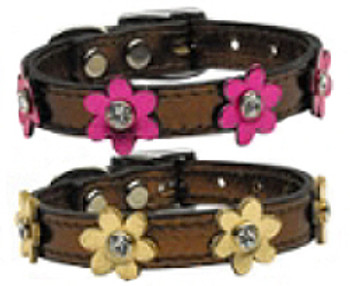 Flower Leather Dog Collar - Metallic Bronze