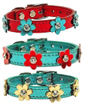 Flower Leather Dog Collar - Metallic Turquoise