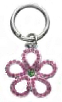 Pink Open Flower Dog Collar Charm