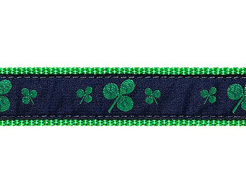 Dog Collar - Navy Shamrocks - 3/4 & 1 1/4