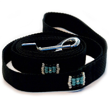 Southwestern Beaded Black Dog Leash