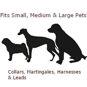 Dog Collar - Red & Black Fishbones - 3/4 & 1 1/4