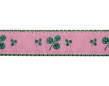 Dog Collar - Pink Shamrocks - 3/4 & 1 1/4