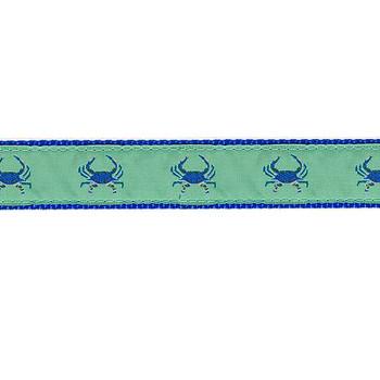 Dog Collar - Crabs Blue on Green - 3/4 & 1 1/4