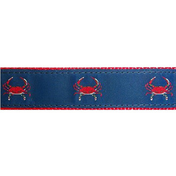 Dog Collar - Red Crabs on Blue - 3/4 & 1 1/4