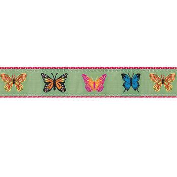Dog Collar - Butterflies on Green - 3/4 & 1 1/4