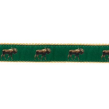 Dog Collar - Moose on Green 1 1/4