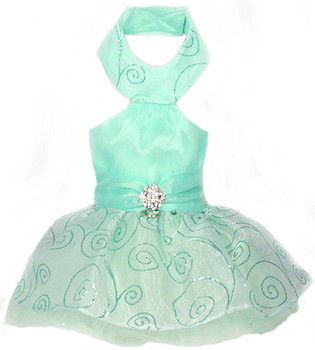 Pixie Dust Seafoam Formal Halter Dog Dress - XS