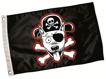 Black Pirate Dog Paw Flag