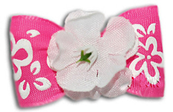 Dog Bow Barrette - Pink Hibiscus