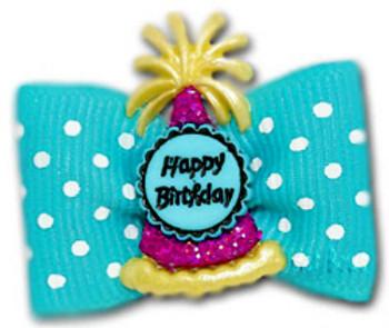 Dog Bow Barrette - Birthday Bash