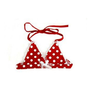 Dog Bikini Top - Red & White Polka Dot