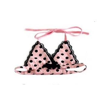 Dog Bikini Top - Pink & Black  Polka Dot