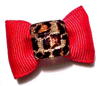 Dog Hair Bow Barrette - Leopard Gem on Red