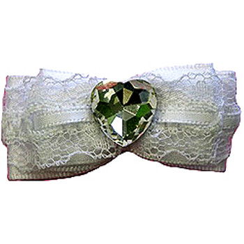 White Wedding Bow Barrette by Ruff Ruff Couture