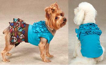 Tiered Ruffled Dog Tee Shirt - Blueberry