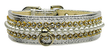 Silver Metallic Mini Pearl & Crystal Dog Collar - Size 18 Only