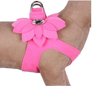 Perfect Pink Water Lily Ultrasuede Step In Dog Harness