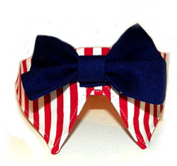 Red Striped Patriotic Dog Bow Tie and Collar