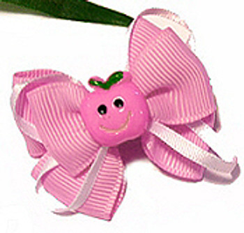Happy Face Pink Apple with Pink Ribbon Dog Hair Bow