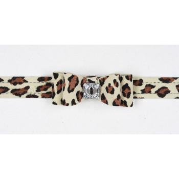 Cheetah Light Big Bow Dog Collar - In Stock