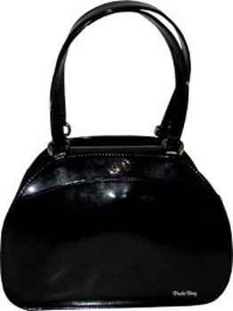 Bowling Ball, Black Patent Bag by Puchi Bag