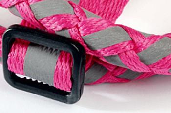 Braided Lumi Dog Leash & Step In Dog Harness Set - Fuchsia