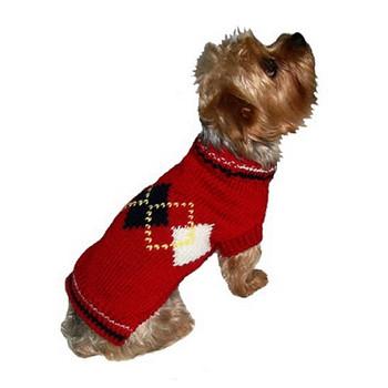 Dog Sweater - Argyle Red