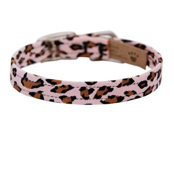 "Plain 1/2"" Ultra Suede Dog Collars - Pink Cheetah - In Stock"