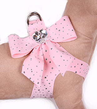 Susan Lanci - Puppy Pink Stardust Tail Bow Heart Step-In Harnesses