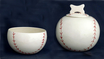 Baseball Pet Dog Treat Jar & Bowl