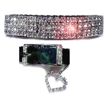 Black Velvet and Swarovski Crystals Dog Collar
