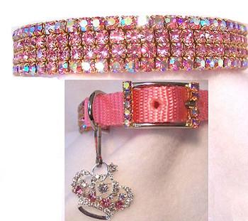 Pink Aurora & Crystals Dog Collar