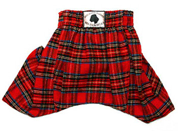 Dog Belly Boxer Shorts - Red Plaid Flannel