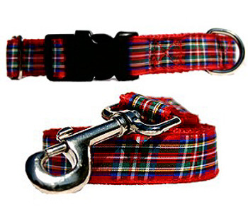 Red & Blue Plaid - Dog Collars & Leashes